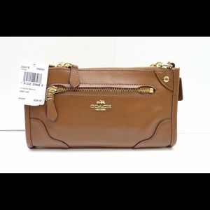 COACH NWT leather mickie crossbody bag in saddle